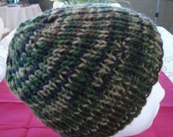 Knit Hat, Camo Brown Dark Green Tan, Men Women, Teen, Boy, Girl.