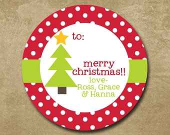 Round Christmas Tree Labels, To From Gift Stickers, Holiday Stickers Personalized, Custom Holiday Stickers