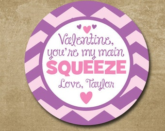 You're my main squeeze, Personalized Valentine Stickers, Treat Bag Gift Labels for Valentines, Classroom Gift Tag Stickers, Heart