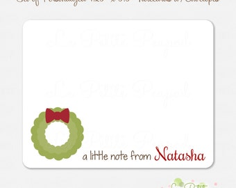 Christmas Wreath Notecards - Children's Note Cards - 10 Personalized Note Cards - Thank Yous - Wreath Design - kids notecards