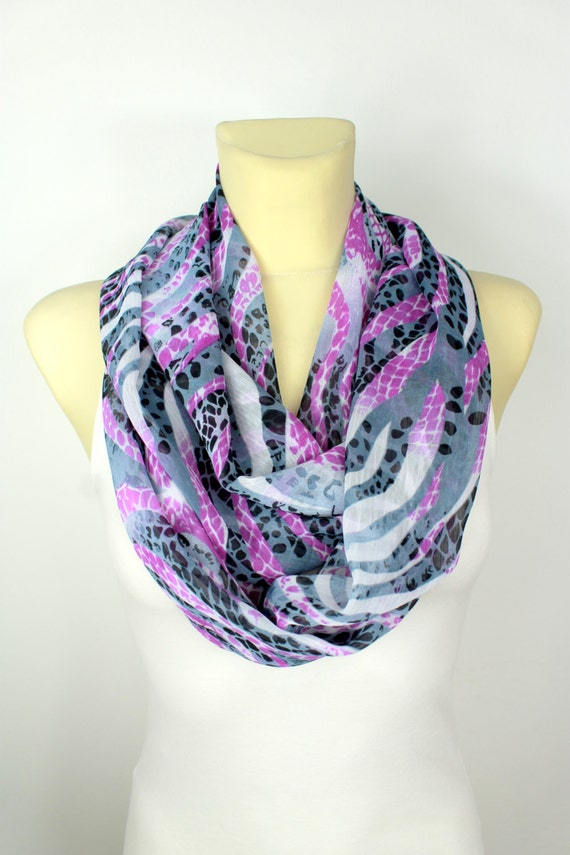Animal Print Infinity Scarf - Snake Loop Scarf - Leopard Circle Fashion Scarf - Women Shawl -Unique Scarf - Boho Scarf - Gift For Her
