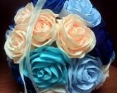 """Elegant 4"""" Wedding Navy Blue Rose hanging crepe paper flower ball, wedding pomander, kissing ball , WEDDING DEKOR, flower girl , baby shower"""