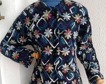 black jacket embroidered flannel