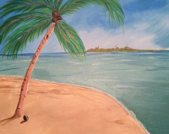 Sink' n the Sand - Beach scene painting, island painting, calm sea painting, 2Timothys16, peaceful Island painting,
