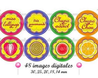 Digital collage sheet, Digital images lollipop candies, one inch circle- Charm  for pendant,  bottle cap, printable image, instant download