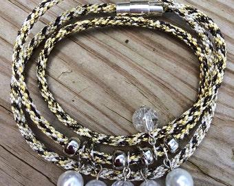 Kumihimo metallic wrap bracelet