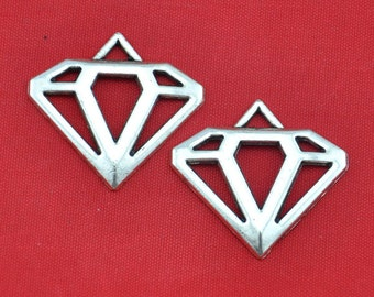 Diamond charm---20pcs of  Tibetan Silver Filigree Diamond Charms ---28x30mm --G1383