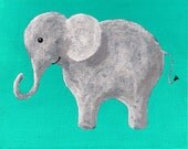 """The Blue Elephant (ORIGINAL ACRYLIC PAINTING) 8"""" x 10"""" by Mike Kraus"""