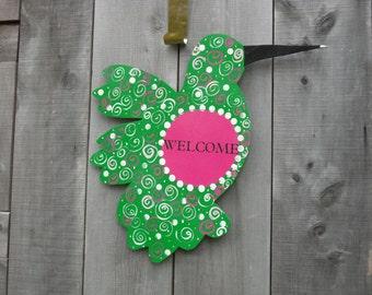 hummingbird door hanger -  bird door hanger -  summer decor -  spring door hanger - bird door signs - mothers day - housewarming