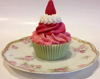 Strawberry Rhubarb Goat Milk Cupcake Soap