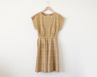 1950s day dress / plaid dress / vintage mustard dress