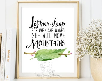 wall art nursery print decor floral inspirational she will move mountains quote art printable nursery let her sleep print nursery quote 186