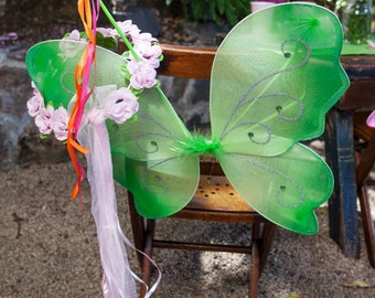 Woodland Fairy Party Favors: Fairy Wings, Wand & Flower Garland sets