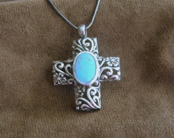 Sterling Silver Turquoise Cross Pendant with Silver Snake Chain