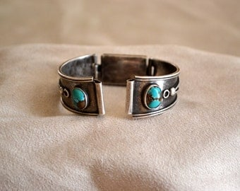 Sterling Silver Watchband with Turquoise Stones