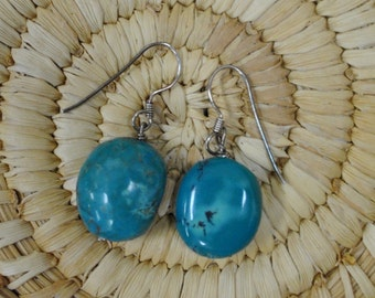 Turquoise Earrings on Sterling Silver Wires