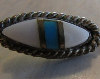 Vintage Sterling Silver Inlay Stick Pin
