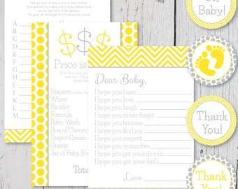 Yellow and Gray Baby Shower Printable Pack- Printable Games and Labels