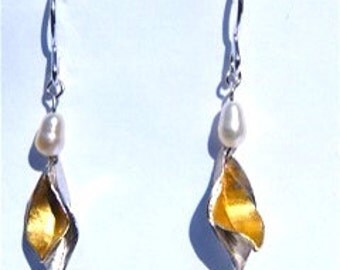 Silver and gold leaf combination earrings.