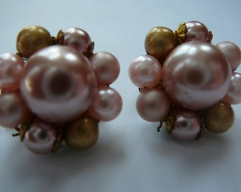 Vintage Pink and Gold Faux Pearl Cluster Earrings