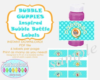 Bubble bottle on etsy a global handmade and vintage for Bubble bottle label template