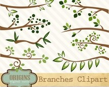 Branches Clip Art - Forest Tree branches clipart, png and vector, digital instant download commercial use