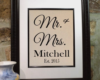 Cotton Wedding Anniversary - Mr. and Mrs. Sign - Cotton Anniversary - Engagement Gift - Gift for Wife - Bridal Shower - Wedding Gift (mm101)