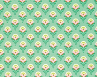 SALE - 1/2 Yard - Heather Bailey / CLEMENTINE / Buttercup in Jade / Polka Dot / Free Spirit Fabrics - Half Yard