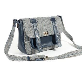 Blue and grey tweed  bag / Tweed & leather crossbody bag /  Womens messenger bag / READY TO SHIP / Shoulder bag.