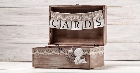 burlap lace rustic wedding card box