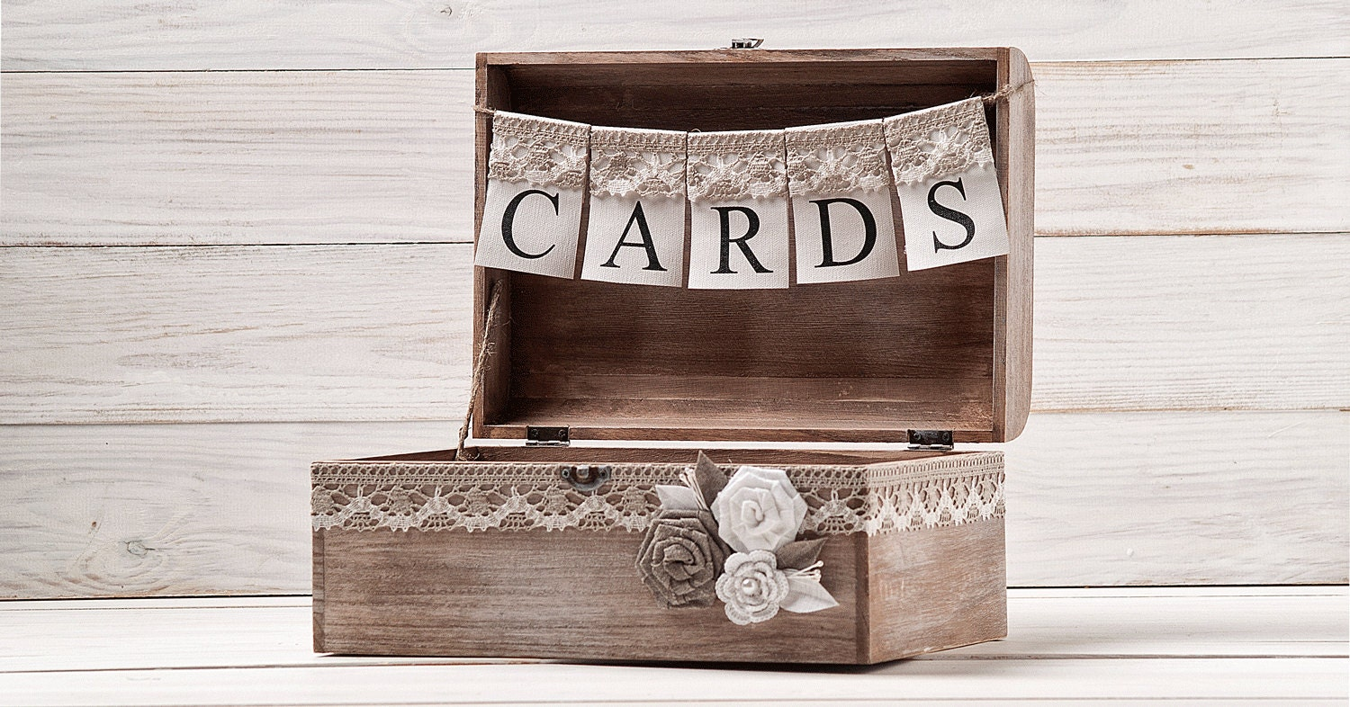 Card Gift Box Wedding: Rustic Wedding Card Box Holder With Burlap And Lace Cards