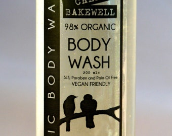 Cherry Bakewell Organic Body Wash 200ml Vegan No SLS, Parabens or Palm Oil
