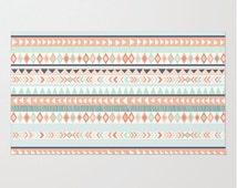 Mint and Coral Tribal Pattern Plush Rug, Nursery Rug, Girls Room Decor, Decorative