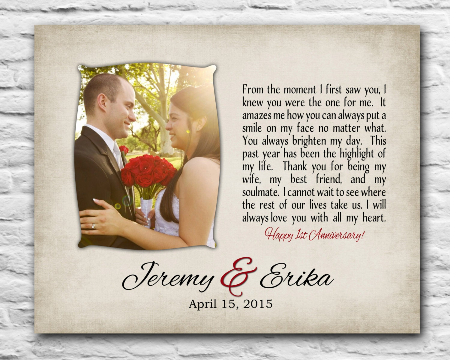 1 Year Anniversary Present For Wife : Personalized Anniversary Gift for Wife 8x10 Print Gift for