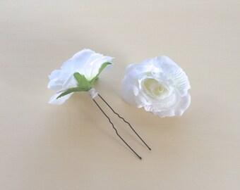 Set of 2 Small White Rose Hair Pins, Bridal Hair Accessories, Prom Hair Pin, White Rose Pin, Rose Hair Clip, Bridesmaid Hair Pin