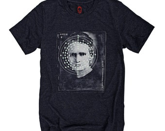 Marie Curie Radium molecule glow in the dark t-shirt.