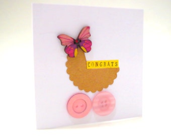Baby News Card | New Baby Card| Handmade Card | Original Handcrafted Drawing Collage Art | PC058
