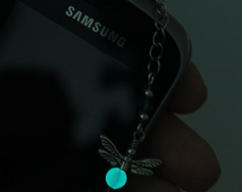 Your choice - Glow in the dark firefly phone charm