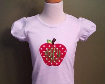 Back to School Apple Applique Childrens Monogrammed Shirt