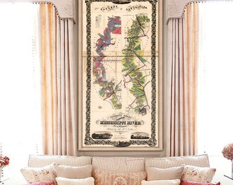 """Map of Mississippi River 1858, Old Mississippi River map up to 36x72"""" Plantations from Natchez to New Orleans - Limited Edition of 100"""