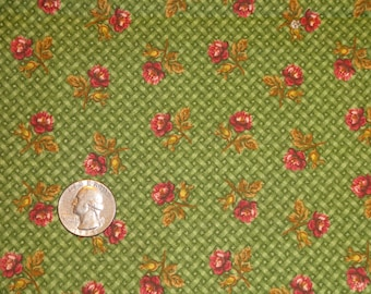 Green Lattice Pink Rose Floral Flower Calico Cotton Quilting fabric 1 1/4 yard only