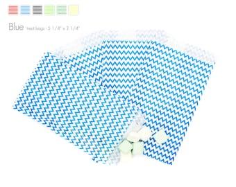 "25 Blue Chevron Treat Bags - 5 1/4"" x 3 1/4"""