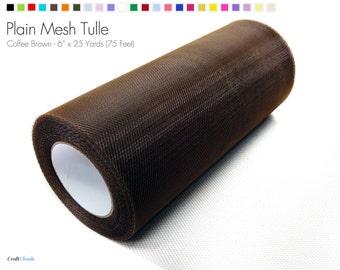 "Coffee Brown Plain Nylon Mesh Tulle - 6"" x 25 Yards (75 Feet)"