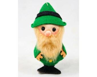 Kitsch 60s Christmas Ornament - Green Felt Elf - 1960s - Holidays - Bearded - Cute - Santa's Elves - Deadstock - 42550