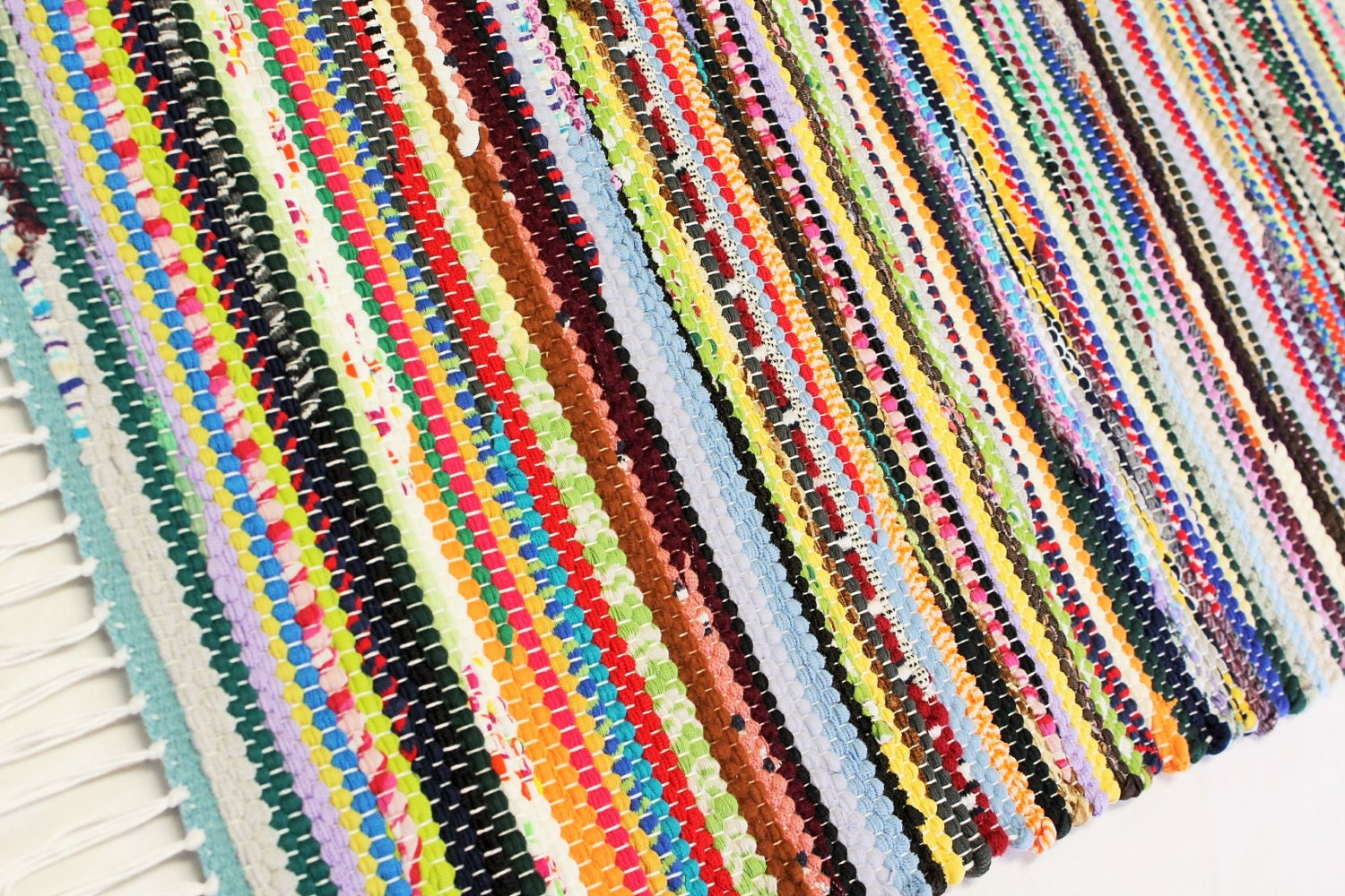 Old Fashioned Rag Rug Loom Woven Multi Colors Kitchen Rag