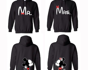 Mr. and Mrs. Hooded Sweatshirts Bride and Groom Couple Hoodies With  Kissing on Back of Hoodies