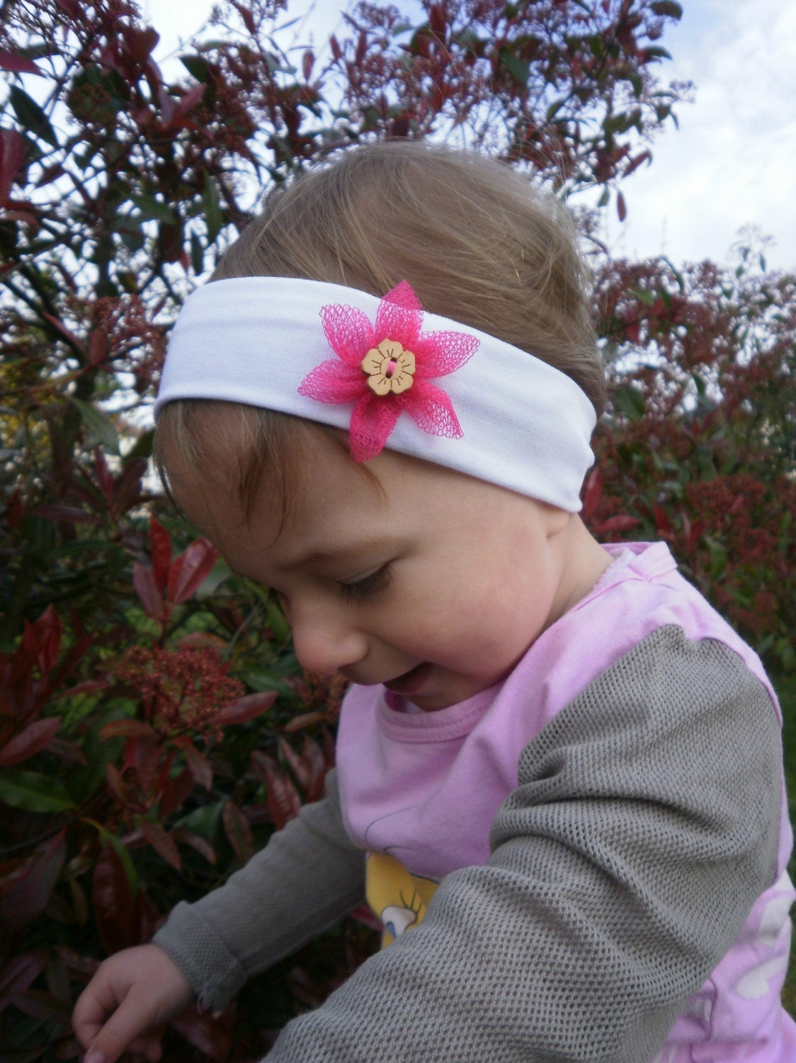 bandeau b b fleur fille enfant fillette large headband petite. Black Bedroom Furniture Sets. Home Design Ideas