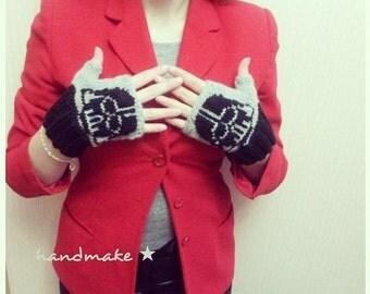 Mitts Darth Vader \ knitted fingerless gloves \ mittens Star Wars \ handmade mittens
