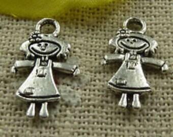 tibetan silver doll, girl, charm finding qty 10