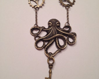 Bronze Octopus Key Gear Chain Necklace